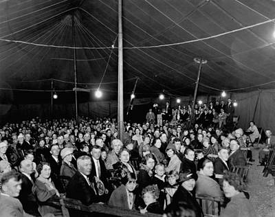 Gathering Photograph - Tent Revival Meeting by Underwood Archives