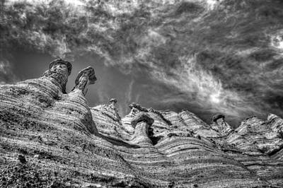 Art Print featuring the photograph Tent Rocks No. 1 Bw by Dave Garner