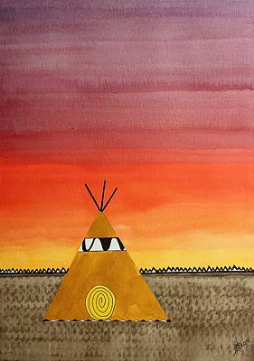 Watercolor With Pen Painting - Tepee Or Not Tepee Original Painting by Sol Luckman
