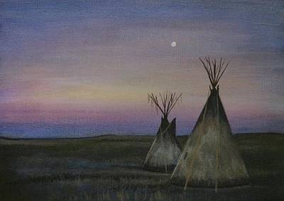 Eerie Painting - Teepees by Lucy Deane