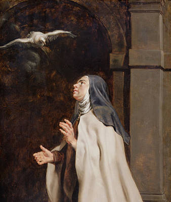 Seeing Painting - Teresa Of Avilas Vision Of A Dove by Peter Paul Rubens