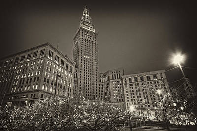 Terminal Tower At Night Art Print by Brent Durken