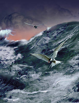 Painting - Terns In The Tempest by IM Spadecaller