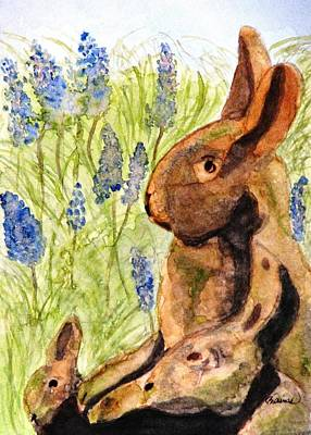 Terra Painting - Terra Cotta Bunny Family by Angela Davies