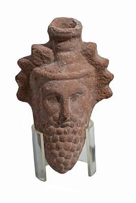 Hellenistic Photograph - Terra-cotta Dionysus Head Flask by Photostock-israel