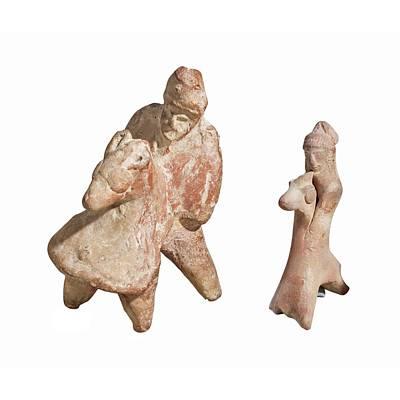 Terra-cotta Horse And Rider Statuettes Art Print
