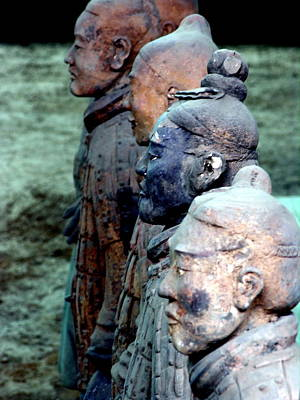 Photograph - Terra Cotta Warriors - Xian - Faces by Jacqueline M Lewis