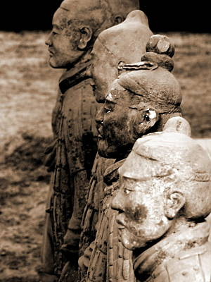 Photograph - Terra Cotta Warriors - X'ian - Sepia by Jacqueline M Lewis