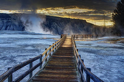 Yellowstone Photograph - Terrace Boardwalk by Mark Kiver