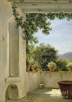 Terrace In Sorrento Art Print by Thomas Fearnley
