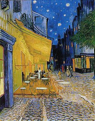 Netherlands Painting - Terrace Of A Cafe At Night by Vincent van Gogh
