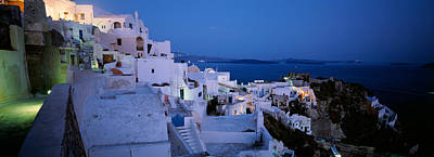 Crowd Scene Photograph - Terrace Of The Buildings, Santorini by Panoramic Images