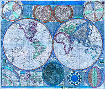 Mixed Media - Terraqueous Globe - Map Of The World by EricaMaxine  Price