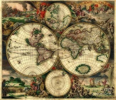 Terrarum Orbis Old World Map  Art Print by Inspired Nature Photography Fine Art Photography