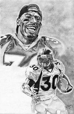 Denver Broncos Drawing - Terrell Davis by Jonathan Tooley