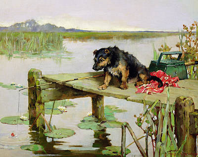 Angling Painting - Terrier - Fishing by Philip Eustace Stretton