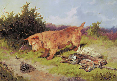 Paws Painting - Terrier Watching A Rabbit Trap by Arthur Batt