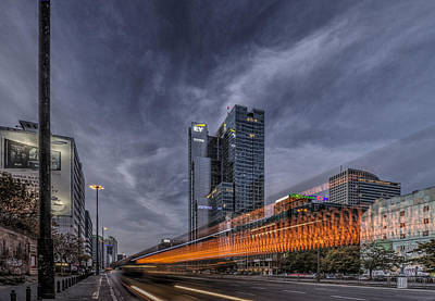 Terrific Warsaw With Zoom Perspective From Jerozolimskie To Rondo One Art Print