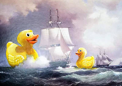 Rubber Ducky Wall Art - Painting - Terror On The High Seas II by David Irvine