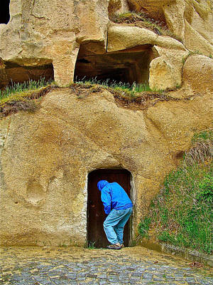 Terry Knocking On Door Of Early Christian Church In Cappadocia Art Print by Ruth Hager