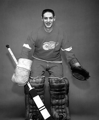 Goaltender Photograph - Terry Sawchuk Portrait Poster by Gianfranco Weiss
