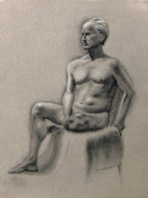 Nude Old Men Drawing - Terry Seated by Janaka Ruiz