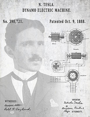 Tesla A / C Current Patent Art 1888 Art Print by Daniel Hagerman