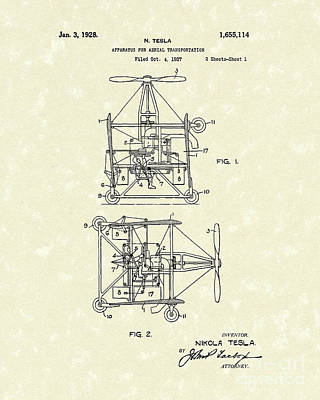 Drawing - Tesla Aerial Apparatus 1928 Patent Art by Prior Art Design