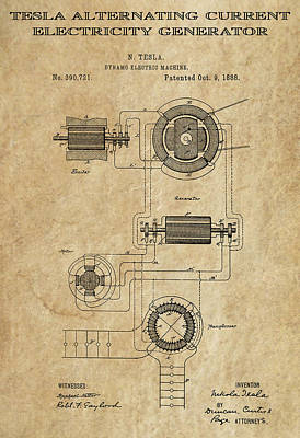 Tesla Alternating Current 3 Patent Art 1888 Art Print by Daniel Hagerman