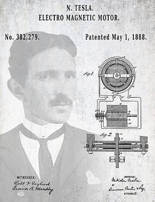 Tesla And The Electro Magnetic Motor Patent Art Print by Daniel Hagerman