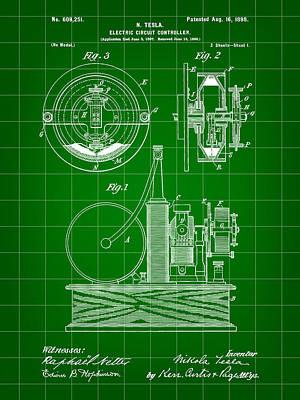 Resistor Digital Art - Tesla Electric Circuit Controller Patent 1897 - Green by Stephen Younts