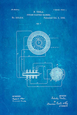 Dynamos Photograph - Tesla Electric Dynamo Patent Art 1888 Blueprint by Ian Monk