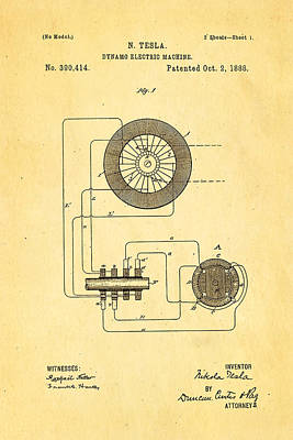 Dynamos Photograph - Tesla Electric Dynamo Patent Art 1888 by Ian Monk