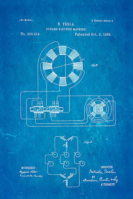 Tesla Electric Dynamo Patent Art 2 1888 Blueprint Art Print