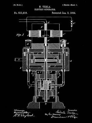 Resistor Digital Art - Tesla Electric Generator Patent 1894 - Black by Stephen Younts