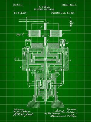 Resistor Digital Art - Tesla Electric Generator Patent 1894 - Green by Stephen Younts