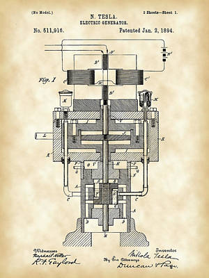 Tesla Electric Generator Patent 1894 - Vintage Art Print by Stephen Younts
