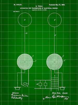 Resistor Digital Art - Tesla Electric Transmission Patent 1900 - Green by Stephen Younts
