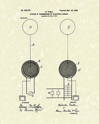 Energy Drawing - Tesla Electrical System 1900 Patent Art by Prior Art Design