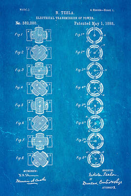 Tesla Electrical Transmission Of Power Patent Art 1888 Blueprint Art Print