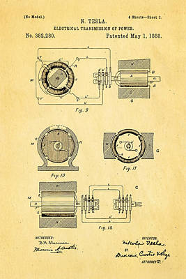 Tesla Electrical Transmission Of Power Patent Art 2 1888 Art Print