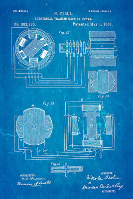 Tesla Electrical Transmission Of Power Patent Art 3 1888 Blueprint Art Print