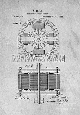 Ideas Drawing - Tesla Electro Magnetic Motor Patent 1888 by Edward Fielding