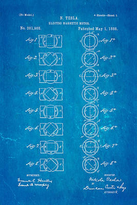 Tesla Electro Magnetic Motor Patent Art 1888 Blueprint Art Print