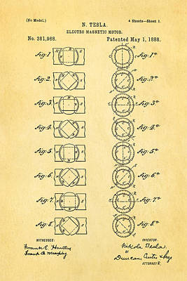Tesla Photograph - Tesla Electro Magnetic Motor Patent Art 1888 by Ian Monk