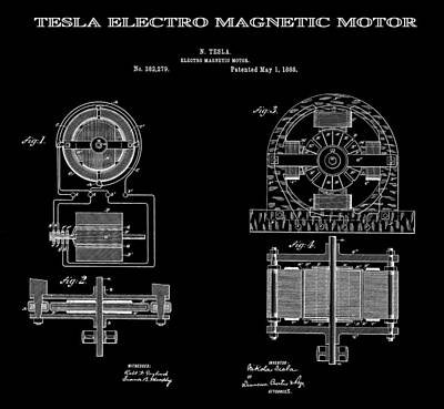 Tesla Electro Magnetic Motor Patent Art Black 1888 Art Print by Daniel Hagerman