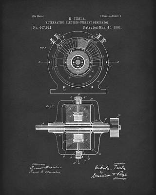 Electric Current Drawing - Tesla Generator 1891 Patent Art  Black by Prior Art Design