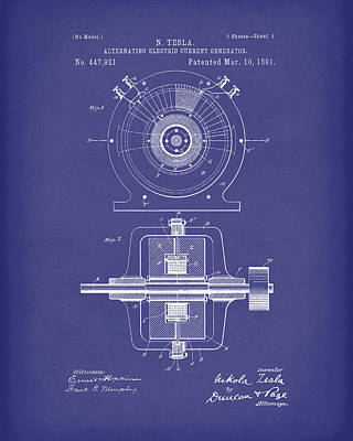 Electric Current Drawing - Tesla Generator 1891 Patent Art  Blue by Prior Art Design
