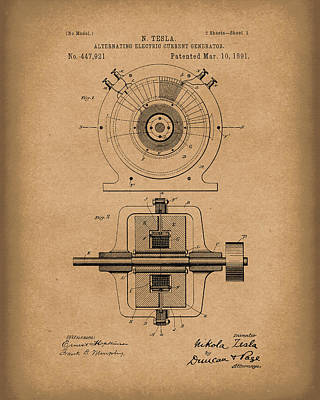 Electric Current Drawing - Tesla Generator 1891 Patent Art  Brown by Prior Art Design