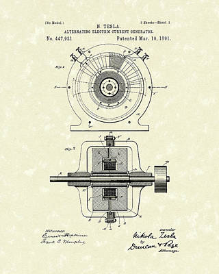 Electric Current Drawing - Tesla Generator 1891 Patent Art by Prior Art Design